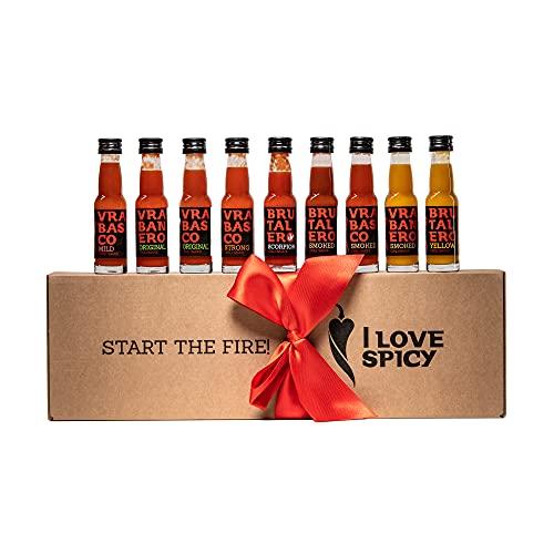 I LOVE SPICY Start The Fire Geschenkbox Scharfe Chilischote Soße (Packung mit 9 x 20 ml) Scharfe 1-6/5
