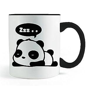 Cute Sleeping Dreaming Panda Mug- Black Handled Coffee and Tea Mug