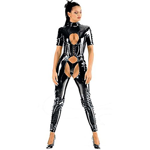 mirlun Negro Sexy kisslatex Lencería cabe Club Wear para mujeres