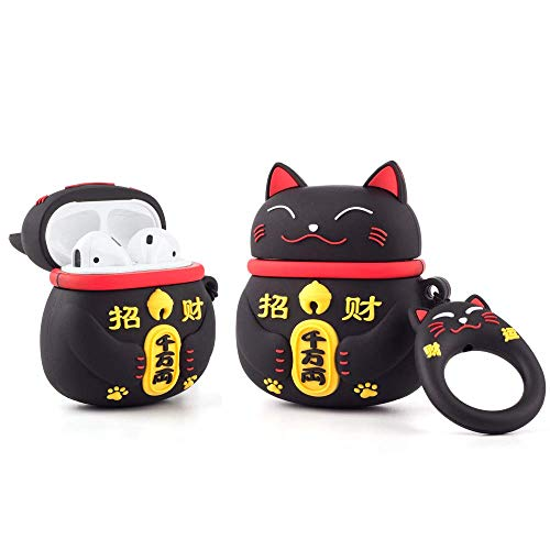 Airpod Funda para Apple Airpods 1 y 2, Cute Happy Cat 3D Funny Cartoon Soft Funda de Silicona, Kawaii Fun Cool Keychain Skin, Fashion Case para niñas, niños, niños, Air pods - Negro