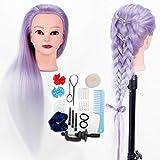 HLRM Cabeza Peluqueria 100% 100% Pelo Sintético, Cabeza de Maniquí Peluqueria Muñeca para Peinar con Abrazadera+ Accesorios de Peinado DIY