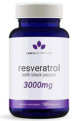 Resveratrol 3000mg - 90 Day Supply - Max Strength, Stronger Than Resveratrol 1000mg / Resveratrol 2000mg - Antioxidant Trans Resveratrol - 180 Capsules