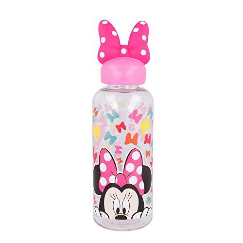 MINNIE MOUSE |Botella de agua reutlizable para niños y niñas de plástico - diseño infantil con tapón de figurita 3D y capacidad de 560 ML - sin BPA