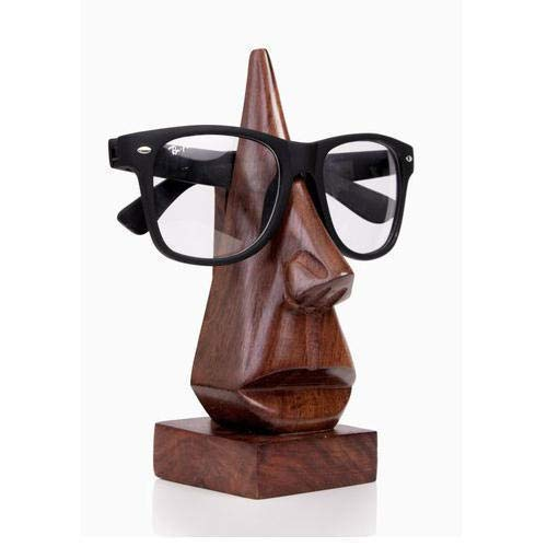 Spectacle Holder Nose Shaped, Wooden Eyeglass Holder, Spectacle holder Stand, Sunglasses Holder For Mother & Men Women Kids Office,Home, best genuine gift Product ,Made of Rose wood -1 Pcs