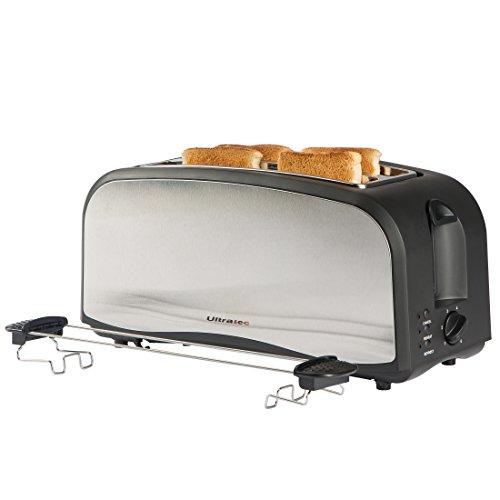 Ultratec XXL Langschlitztoaster, bis zu 4 Scheiben Toast gleichzeitig, inkl. Brötchenaufsatz und Krümelschublade, in Mattschwarz / Edelstahl, 1.400 Watt