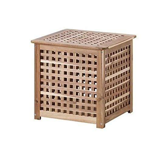 du hui Caja de almacenamiento cuadrada de madera sólida, mesa de centro de almacenamiento de espacio grande, mesa auxiliar de cubo único con ancho y almacenamiento