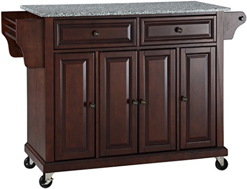 Crosley Furniture Full Size Kitchen Cart with Solid Gray Granite Top, Vintage Mahogany