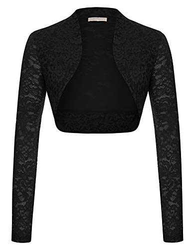 Black Lace Shrug Bolero,Cropped Jacket Short Cardigan (Black,M)
