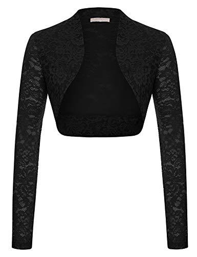 Elegant Lace Crochet Bolero Shrug Cardigan Crop Top for Mom(Black,2XL)