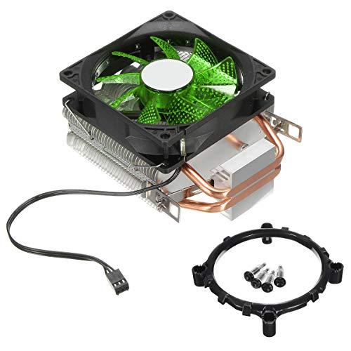 Gaopina 9cm LED 3 Pin CPU Refriginador de refrigeración del Ventilador de refrigeración El disipador de Calor Compatible with Intel Lag / 1155/1156 AMD 754 / AM2 / AM2 + AM3 / FM1 (Color : Green)