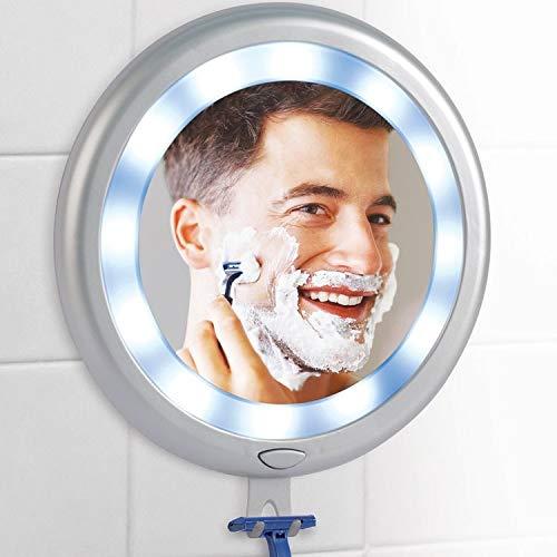takestop® badkamerspiegel met 12 LEDs Trucco Barba JK_148 koud wit met haak voor scheerapparaat Lametta anti-condens 4 zuignappen muur