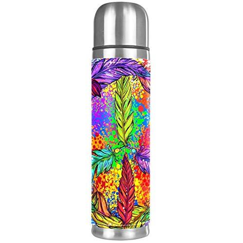 Thermos ThermoCafé Botella térmica aislada,Símbolo Del Pacífico En Patrón de Estilo Patchwork,Frasco de Vacío de Acero Inoxidable 500 ml