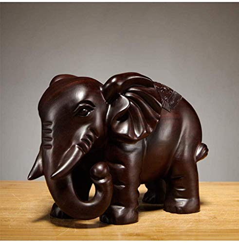 YsKYCA Sculptures Decoration,Figurine Ornament Accessories Ebony Wood Carving Elephant Ornament Wood Carving Furniture Porch Crafts Crafts Home Interior Wedding Anniversary