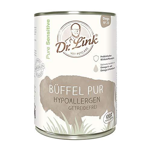 Dr. Link Pure Sensitive Büffel pur | hypoallergen | getreidefrei |6 x 400 g | Nassfutter für Hunde