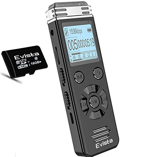 Evista 16GB Digital Voice Recorder for Lectures with 16GB TF Card - 32GB Voice Activated Recording Device for Lectures and Meetings with External Microphone, Line In, Password, Variable Speed Playback