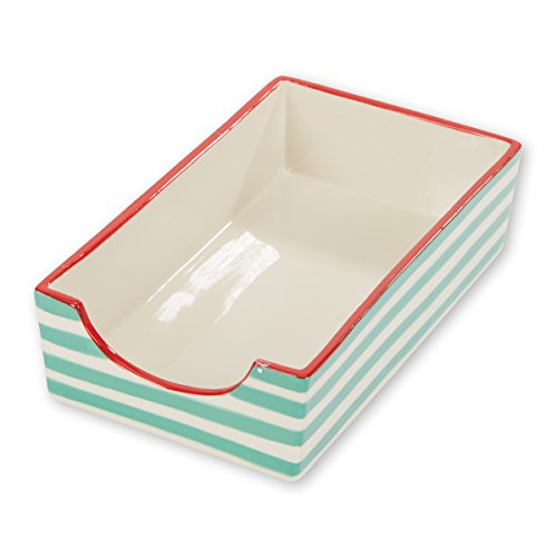 C.R. Gibson White and Green Striped Stoneware Napkin Holder Caddy, 5.25'' W x 8.5'' H x 2.5'' D