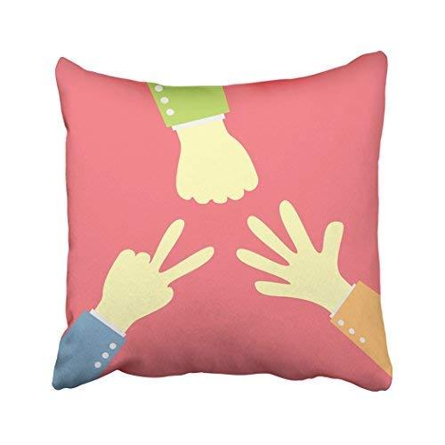 Funda de almohada decorativa para el hogar, 18 x 18 cm, colorida, con diseño de manos de dibujos animados, para jugar a la roca, con piedras rosas, para actividades infantiles, clásicas, fundas de cojín cuadradas decorativas para sofá, accesorios para el hogar, regalos