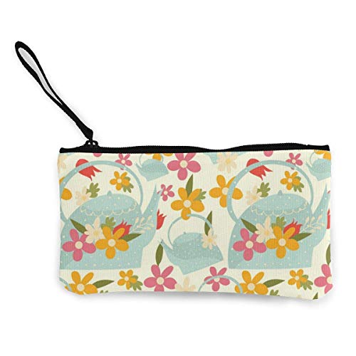 Hdadwy Farbige Blumen und Gießkanne Leinwand Reißverschluss Geldbörse, personalisierte Damen Make-up-Tasche, Handtasche, Koffer Damen Accessoires