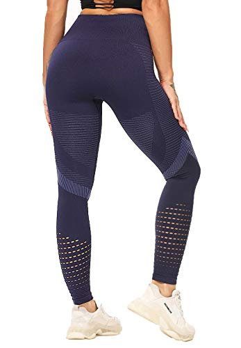FITTOO Leggings Sin Costuras Corte de Malla Mujer Pantalon Deportivo Alta Cintura Yoga Elásticos Fitness Seamless #4 Azul Small