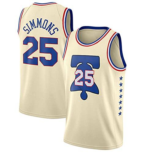 CXJ 76ers Ben Simmons Jerseys NBA # 25 Men's Basketball Jersey - Tela Fresca de la Tela Transpirable Swingman Vestima sin Mangas,A,M(170~175CM/65~75KG)