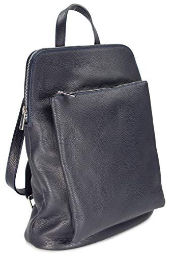"Belli \""Backpack Seattle ital. Damen Rucksack Leder Handtasche Cross Body Bag 3in1 in dunkelblau - 29x32x11 cm (B x H x T)"