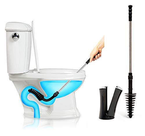 ToiletShroom Revolutionärer Saugglocke Abzieher Verstopfungsentferner Abflussreiniger Bad WC Dredge Tool Edelstahl Griff mit Caddy Halter -