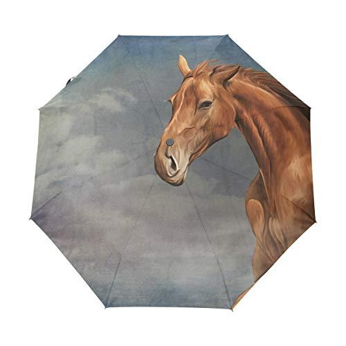 Jeansame Vintage Paard Wolken Sky Vouwen Compacte Paraplu Automatische zon Regen Paraplu's voor Vrouwen Mannen Kid Jongen Meisje