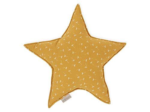 KraftKids Sternkissen Musselin gelb Pusteblumen, 45 cm großes Kuschelkissen, Deko-Kissen für das Kinder-Zimmer