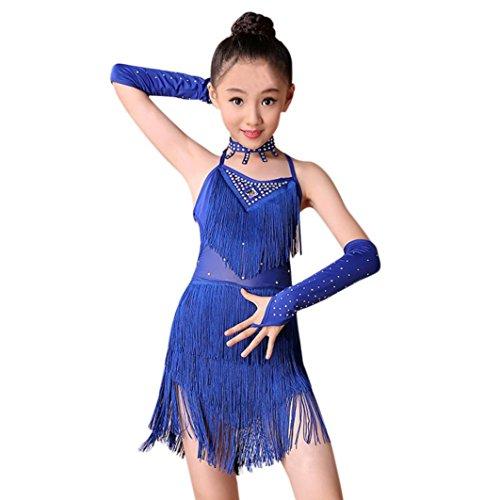 K-youth Ninas Borla Latino Vestido De Baile Vestido Danza Latina Niña Traje Baile Tango Salsa Deportivo Salón Ropa Niñas Borla Latín Practica Falda de Baile con Accesorios (Azul, 8-9 años)