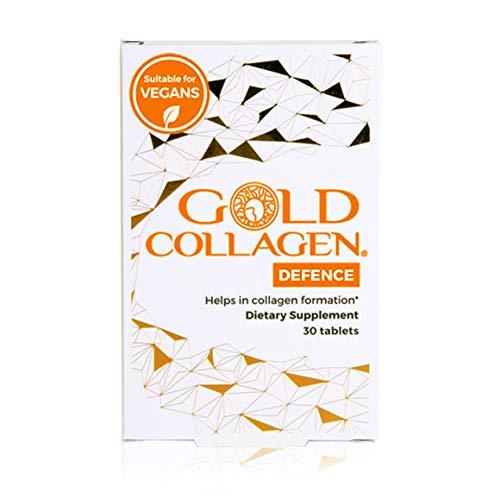 Gold Collagen Defence | El complemento original de mantenimiento de colágeno + soporte inmunitario | ácido hialurónico, vitaminas A, B, C, E y zinc para la piel, el cabello y las uñas | 30 días