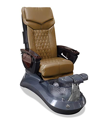 LOTUS II 18 LX Shiatsulogic Pedicure Chair Grey-Crystal w/Discharge Pump Stylish Pedicure Tub with Pipe-less Whirlpool System Perfect for All Pedicure Spa, Cappuccino