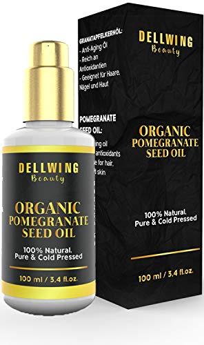 DELLWING Beauty Aceite de semilla de granada marroquí - Botella dispensadora de 100 ml - Aceite corporal prensado en frío - Contra las quemaduras solares y el acné - Hidratante y antibacteriano