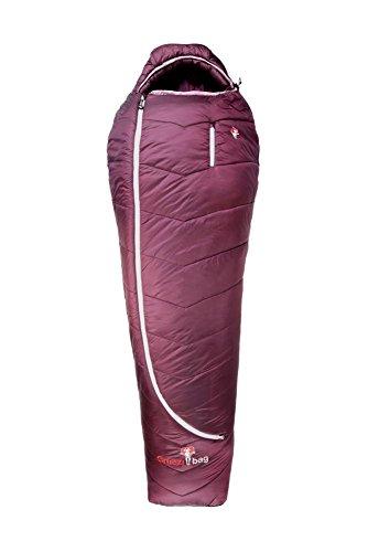 Grüezi-Bag Synpod Island 175 Schlafsack, 200 x 77 x 50 cm, atmungsaktiv, Mumienschlafsack, Synthdown-Füllung, 950g, Packmaß Ø 17 x 32 cm, Berry