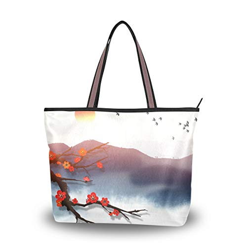 Jessgirl Nette Tasche Einkaufstasche mit Taschenloch für Frauen Leinwand Handtasche Durable Red Flower M Large