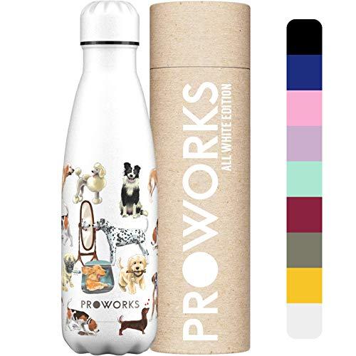 Proworks Botellas de Agua Deportiva de Acero Inoxidable   Cantimplora Termo con Doble Aislamiento para 12 Horas de Bebida Caliente y 24 horas de Bebida Fría - Libre de BPA - 750ml Blanco Cola de perro