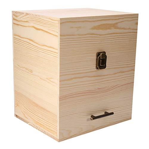 Estuche para aceites Esenciales, 8.5 x 7.1 x 9.8 Pulgadas Conveniente Caja de Aceite Esencial de Madera con 59 Ranuras y 3 Capas, Almacenamiento de Pulido para Regalos en el hogar