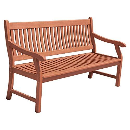 nxtbuy Bank New Jersey, 3-Sitzer - Gartenbank aus geöltem Eukalyptusholz 158 cm für bis zu 3 Personen - Massive witterungsbeständige Sitzbank mit Armlehnen
