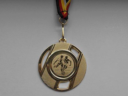 Fanshop Lünen 20 Stück Medaillen - Fußball - Fussball - aus Metall 50mm / Gold - inkl. Medaillen-Band - mit Alu Emblem - Gold - (e257) -