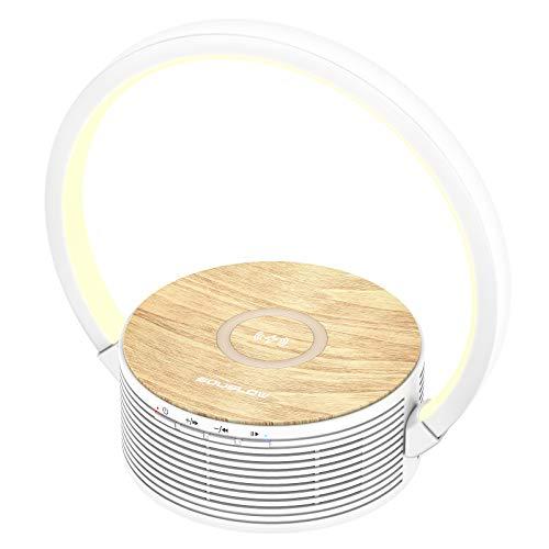 SOUSLOW Lámpara de escritorio con carga inalámbrica y altavoz, lámpara de escritorio 3 en 1 con 3 niveles de atenuación, carga inalámbrica para todos los dispositivos Qi