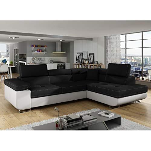Canapé d'angle Noir Tissu