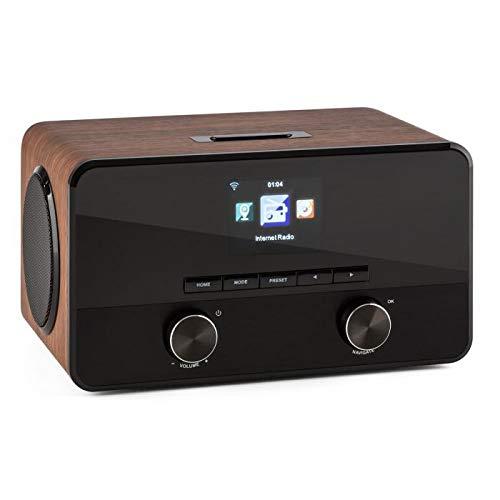 auna Connect 100 Radio de Internet - 2 x 5 vatios Altavoz , Interfaz WLAN , Streaming , Bluetooth , Puerto USB , AUX , Compatible MP3 , Función Despertador , Menú multilingüe , Madera