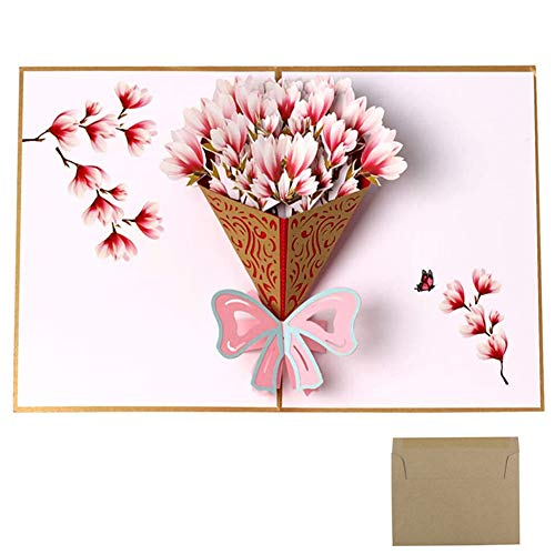3D Pop Up Greeting Card,3D Pop up Flower Bouquet Greeting Card,Mother's Day Father's Day and Christmas Card,Anniversary Birthday Card with Envelope