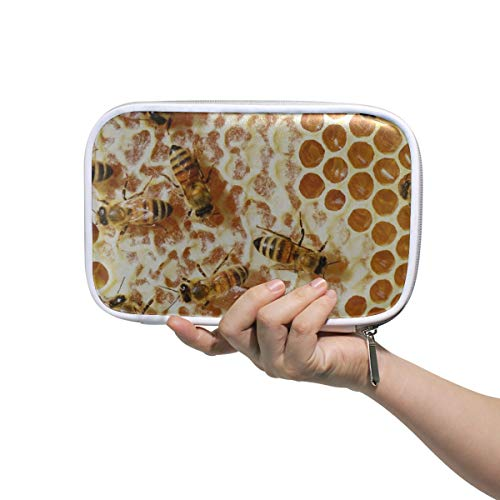 Kleine Reise Make-up Tasche Bienen Honig Honig Bienen Waben Kämme Bienenstock Herren Beauty Bag Kinder Kosmetiktasche Multifunktionale Federmäppchen Frauen Für Männer Frauen