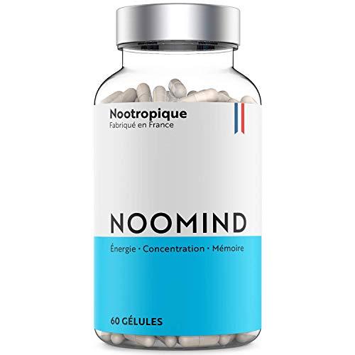Noomind Nootropique | Booster de Concentration, Énergie et Mémoire | À base de Caféine, L-Théanine, Ginseng Panax, Bacopa Monnieri | 60 gélules | Fabriqué en France