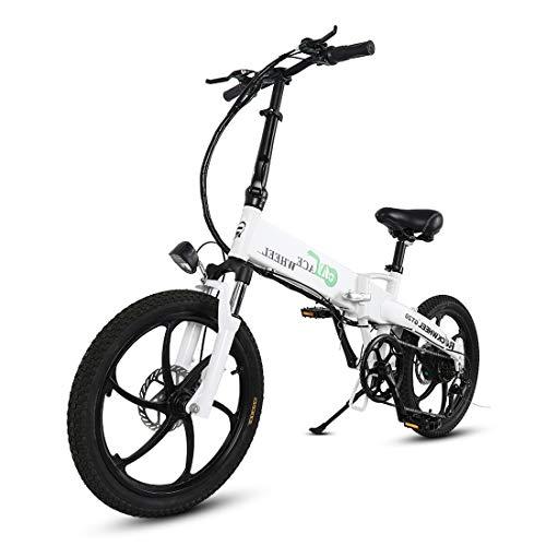 CCDYLQ 20 Pulgadas Plegable E-Bici, 350W de Motor sin escobillas, de Iones...