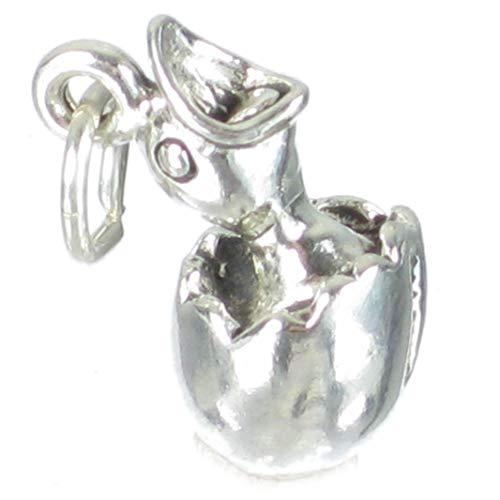 Vogel chick in einem Ei Sterling Silber Charm .925 X1 Ostereier Anhänger sslp2391