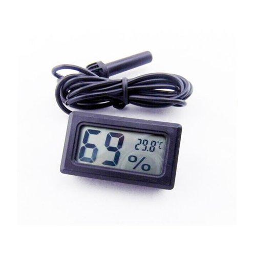 Kicode Negro LCD Nueva Digital incrustado termómetro Sonda Meter higrómetro para Las Aves de Corral incubadora Acuario Reptil de Efecto Invernadero