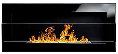 Bio Ethanol Fire BioFire Fireplace Modern 900 x 400 High gloss black with glass