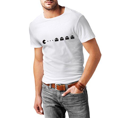 lepni.me Camisetas Hombre Regalo para Jugador Retro, Amante de los Videojuegos clásicos (Small Blanco Negro)