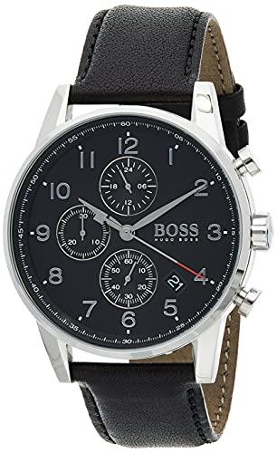 Hugo Boss Mens Quartz Watch, Chronograph Display and Leather Strap 1513678